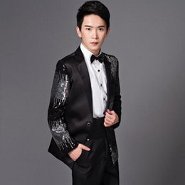 Wholesale Busted Clothing - Men Fashion Sequins Pant Suits Bust Suit Casual Suit Jacket Black And Red Wedding Master Of Ceremonies Presided Studio Clothing CCA7192 5set