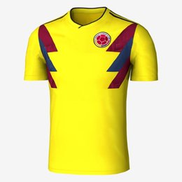 Wholesale National Team Soccer Uniforms - Thai AAA National Team Colombia 2018 Home Soccer Jersey JAMES FALCAO Soccer Uniform CUADRAD AGUILAR GUARIN SANCHEZ ESCOBAR Football Shirt