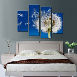 Wholesale Modern Art Nature Painting - 4 piece Wall Art Painting Nature Flowers Dandelions White Flowers Prints On Canvas Pictures Oil For Home Modern Decoration Print Decor