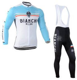 Wholesale Bianchi Cycle Clothes - 2017 Team Bianchi cycling jersey sets Winter Thermal Fleece Tour de France Bisiklet wear bike maillot ropa ciclismo Bicycle MTB clothes