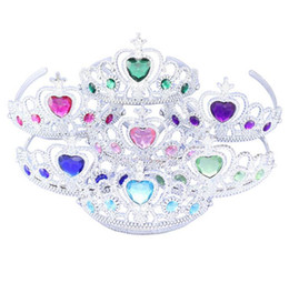 Wholesale Children Crowns Tiaras Plastic - Snow and ice princes Colorful diamond crown plastic Froze children crown children headdress Hair accessories hairpin wholesale Free shipping