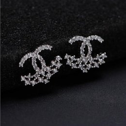 Wholesale Earring 925 Plated - 925 sterling silver earrings natural crystal wholesale fashion sterling silver jewelry for women stud earring with gift box