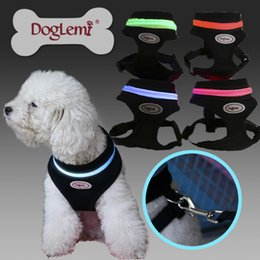 Wholesale Led Collar Harness Light - Pet Dog Harness LED Light Pet Collar 4 Colors Air Mesh Safety All For Animals Chest Straps Peitoral Dog Reflective Vest