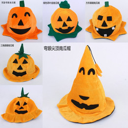 Wholesale Fedora Sale - Hot Sale New Halloween Gifts Children's Accessories Caps Pumpkin Devil Smile Kdis Cap Boys Girls Cute kids Flannelette Cap Hats A5719