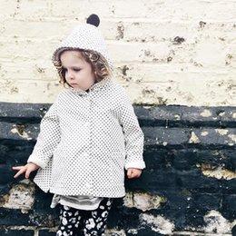 Wholesale Girls Ruffle Winter Coats - 2018 Ins Baby Girls Dots Tench Coats Kids Girls Fashion Hooded Jackets Babies Casual Ruffles Outwear Kids Autumn Winter clothing
