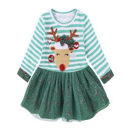 Wholesale Girls Deer Printed Dress - New baby girls Christmas deer lace dress cartoon Children Xmas elk printing princess dresses Kids Clothing