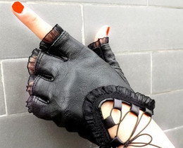 Wholesale Leather Gloves Lady Sexy - Women Black Half Finger Genuine Leather Gloves Soft Sheepskin Lace Trim Sexy Gloves Ladies Dance Costume Lace Glove