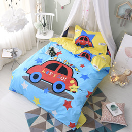 Wholesale Rainbow Sheet Set - New Cartoon Rainbow Stars Car for Boys 100% Cotton Twin Comforter Sets Dovet Covers Bed Sheets Pillow Sham Children Teen Gifts Bedroom Decor