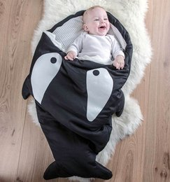 Wholesale Cute Small Newborn Babies - Hot Ins shark sleeping bag Newborn sleeping bag Winter Strollers Bed Swaddle Blanket Wrap cute Bedding baby sleep bag 8 Colors