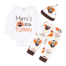 Wholesale Turkey Clothes Wholesalers - Kids Clothing Sets Turkey Print Baby Clothes for Boys Girls Outfits Toddler Fashion Romper Pants Hat Boutique Children Suits New