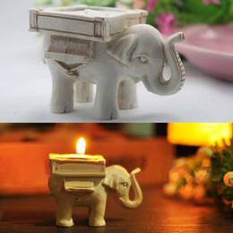 Wholesale Ivory Elephant Candle Holder - Lucky Elephant Tealight Candle Holder Ivory Bridal Wedding Party Home Decor PAly