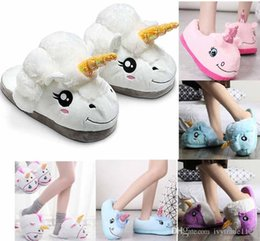 Wholesale Wholesale For Slippers - hot plush unicorn slipper Cotton Home Slippers for White Despicable Winter Warm Chausson Licorne Indoor Christmas Slippers Fit Size 34-41