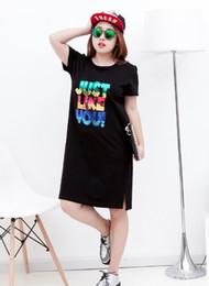 Wholesale Ms Code - Wholesale cheap ms oversize T-shirts 100kg code summer fat women mm show thin split ends short sleeved sequins long cotton T-shirt 2 color 4