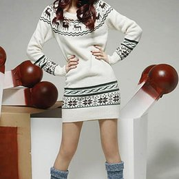 Wholesale trendy winter sweaters - Wholesale- Autumn Winter Women Trendy Christmas Cartoon Deer Pattern Long Sleeve Knitted Cotton Sweater Female Casual Pullover Sweaters