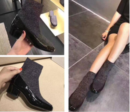 Wholesale Cheap Chunky Heel Ankle Boots - 2018 Name Brand Stretch Ankle Boots Woman Shoes Chunky Heel New Arrival High Quality Patchwork Slip On Lady Dress Shoes Cheap Size 39