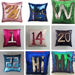 Wholesale Wholesale Sequin - New 38 Colors 40*40cm Doule-color Magic Reversible Mermaid Sequins Pillow Cover Glitter Pillow Cover Throw Pillow IC859