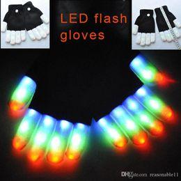Wholesale White Rave Gloves - LED Rave Gloves Mitts Flashing Finger Lighting Glove Colorful 7 Colors Light Show Black and White