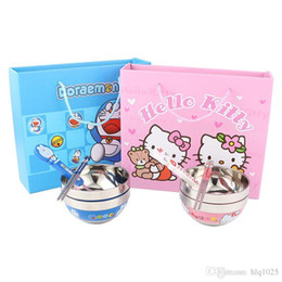 Wholesale Cute Food Containers - Cute Cartoon Hello Kitty Children Lunch Box Set Double Layer Food Container For Children free shipping