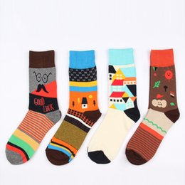 Wholesale Colorful Knee High Socks - Wholesale-6 color creative tide high quality cotton autumn winter happy brand unisex socks with colorful countryside theme for men women