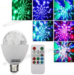 Wholesale Led Disco Ball Light E27 - 3W E27 Disco Ball Lamp RGB Rotating LED Strobe Party Bulb Stage Lights for Family Birthday Festival Decoration,Remote Control MYY