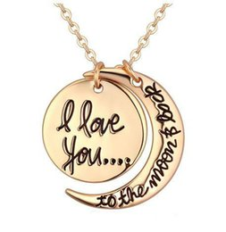 Wholesale Twist Clasp Chain - Necklaces Pendant Fashion korean Jewelry Cheap I Love You To The Moon and Back Silver Gold Necklace Lobster Clasp Pendant Necklaces
