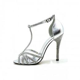 Wholesale Womens Shoes Size 14 - Silver Wedding Bridal Shoes 2016 Rhinestone T Strap Buckle Strap New Arrive Hot Sale Womens Sandals Summer Shoes Cheap Modest Plus Size