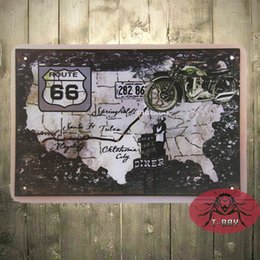 Wholesale rustic metal wall decor - Cheap Route 66 main street Metal Decor Wall Art Vintage Rustic Kitchen Store Farm D-36 160909#