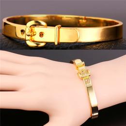 Wholesale Trendy Belt Bracelets For Women - Trendy Bangles For Women Men Jewelry Wholesale 2 Colors Options 18K Real Gold Platinum Plated Belt Bracelets Bangles H5150