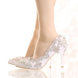 Wholesale Platform T Strap Heels - Exquisite Rhinestone Bridal Shoes Pointed Toe and Round Toe Platform White Color Wedding Shoes with Silver Rhinestone Prom Pumps