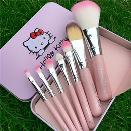 Wholesale Mini Nylon Brush - Hot Selling Hello Kitty Make Up Cosmetic Brush Kit Makeup Brushes Pink Iron Case Toiletry Beauty Appliances Cute Mini Case 7pcs set