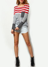 Wholesale Color Block Tee Shirts - 2016 Womens Color Block Tee Summer Fashion Tops Casual Vintage Shirt Grey Long Sleeve Round Neck Striped Pocket T-Shirt