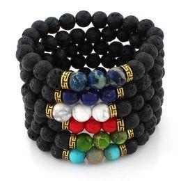 Wholesale Black Buddha Bead Wholesale - Natural Stone Black Lava Beads Bracelets Turquoise Buddha Bracelet Bangle Cuffs for Women Yoga Jewelry 162426
