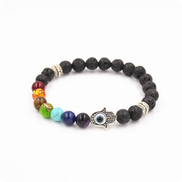 Wholesale Hamsa Beads Wholesale - 8mm lava energy chakra bracelets Unisex colorful beads bracelets Hand of Hamsa Fatima bracelets free shipping