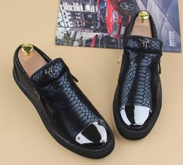 Wholesale Gold Snake Shoes - 2016 Men Women Black Gold Silver Snake Leather Fashion Low Top Black Bottom Casual Shoes Luxury Brand Spring Autumn Flat Shoes