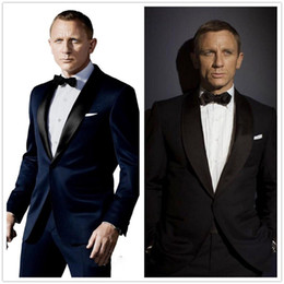 Wholesale Dark Gray Suit Mens - 007 James Bond Dark Blue Groom Tuxedos Jacket+Pant+Tie Mens Fashion Tux Tuxedos Boyfriend Blazer Bridegroom Mens Clothing Speech