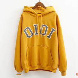 Wholesale Women Korean Style Hoodies - Wholesale- hoodies women autumn 2017 winter coats korean style cute hoodie women halloween kawaii OIOI letters harajuku sweatshirt women