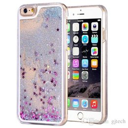 Wholesale Gold Back Cover Iphone 4s - Glitter Stars Dynamic Liquid Quicksand Hard PC Case For iPhone 4s 5se 6s plus Samsung S6 S7 Edge Note 5 back cover Transparent Clear Shell