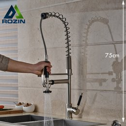 Wholesale Single Lever Mixer Kitchen Faucet - Wholesale- Luxury 75cm Height Kitchen Mixers Single Lever Brushed Nickel Hands Free Sprayer Kitchen Faucet Tap