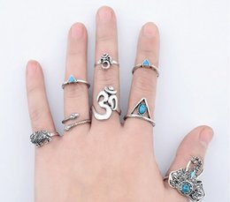 Wholesale Joint Snake - Bohemian Elephant Snake Stacking Rings Antique Silver Joint Knuckle Nail Ring Set Above Knuckle Fine Rings Set