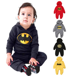 Wholesale Batman Rompers - baby infant boy girl cotton rompers superhero hoodies with hat batman gray jumpsuit set clothing long sleeve winter baby clothes denim ROB50