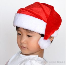 Wholesale Red Hat Fabric Wholesale - Hot Christmas Hat Indoor Decoration Christmas Cute Gift Santa Hat High Quality Cotton Fabric(12pcs lot)