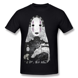 Wholesale Unique Tee Shirts - Spirited away anime printed mens t shirt Japan style male unique clothing pure cotton tees for youth NoFace Bathhouse