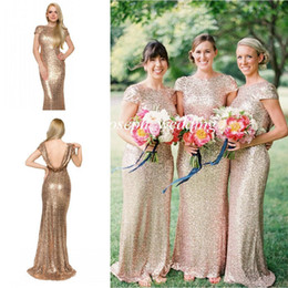 Wholesale Cowl Back Bridesmaid Dresses - 2017 New Gold Mermaid Sequined Cowl Open Back Long Maid of Honor Bridesmaid Dress For Wedding Women Gown Free Shipping ZBD-269