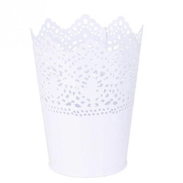 Wholesale Metal Flower Holders - Metal Lace Hollow Out Pot Makeup Brush Holder Flower Vase Plant Pot Stationery Pen Container for Home Office Decoration