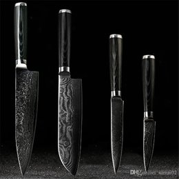 "Wholesale Japanese Utility Knives - D058 FINDKING Japanese Damascus knives set 8 inch chef knife 7.5 inch santoku 5 inch utility 3.5"" paring knife"