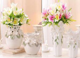 Wholesale Ceramic Bottle Vase - Modern Bottle Shape white Color Ceramic Vase Ceramic Tabletop Vase for Home Hotel Ofiice Club Decor LH22