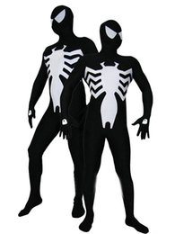 Wholesale Black Spider Costume - Black & white spandex Vemon Symbiote Spider-Man Costume Spiderman Halloween Party Cosplay Zentai Suit 15689