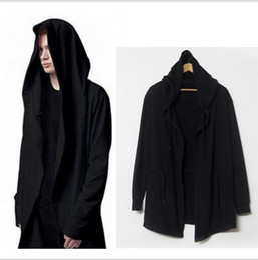 Wholesale Geometric Shawl Cardigan - Men's Hoodies Sweatshirts Europe America Style Cloak Long Sleeve Shawl Outwear Streetwear Style Hooded Men's Plus Long Hoodies