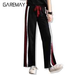 Wholesale Loose Khaki Pants For Women - Casual Summer Pants 2017 Pantalones Mujer Side Striped For Women Loose Pants Elestic Waist Loose Black garemay 9566