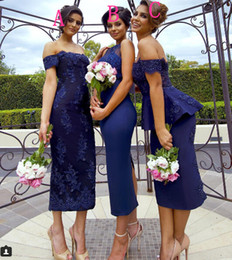 Wholesale Young 14 - 2016 Young Sexy Mother Of The Bride Dresses Navy Tea Length Lace Applique Cheap Vintage Bridesmaid Dresses